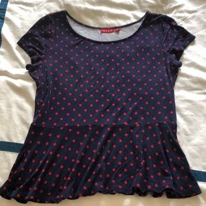 Elle navy blue with red polka dots peplum top